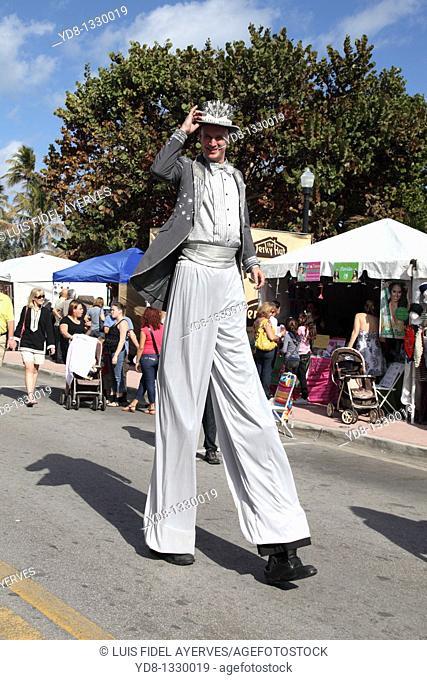 Super Man Walking in Ocean Dr, Miami Beach, Florida, USA
