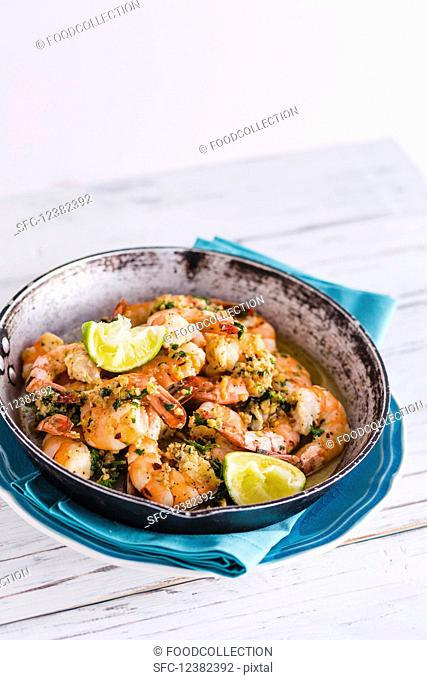 Garlic prawns with herbs and lime