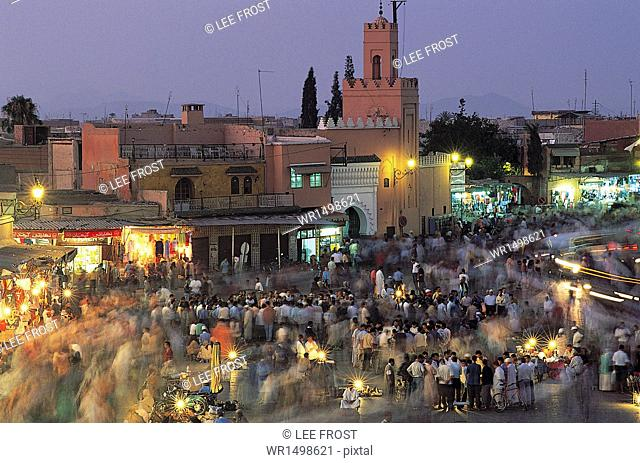 Elevated view over Djemaa el-Fna in the evening when the square is filled with food stalls, Marrakech (Marrakesh), Morocco, North Africa, Africa