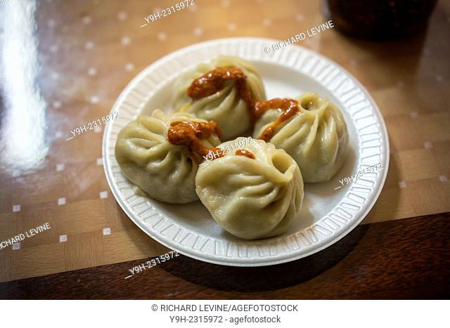 A serving of Tibetan momos in a restaurant in the Jackson Heights neighborhood of Queens in New York