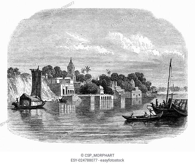 View of Cawnpore, modern city of the country of Ouche, vintage engraving