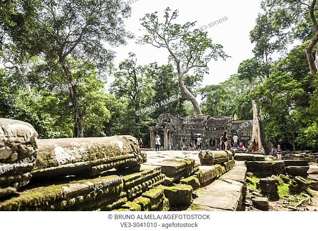 Tourists visiting ruins of Ta Prohm in Angkor compound (Siem Reap Province, Cambodia)