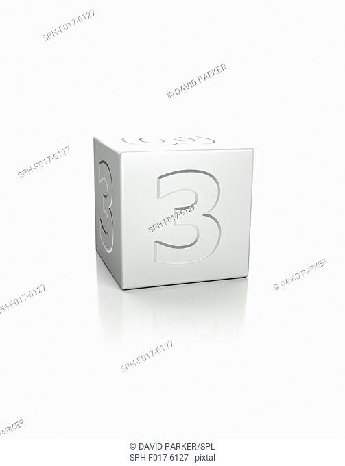 Cube with the number 3 embossed