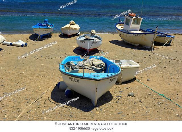 Las Negras, Fishing boats, Cabo de Gata, Biosphere Reserve, Cabo de Gata-Nijar Natural Park, Almeria, Andalusia, Spain