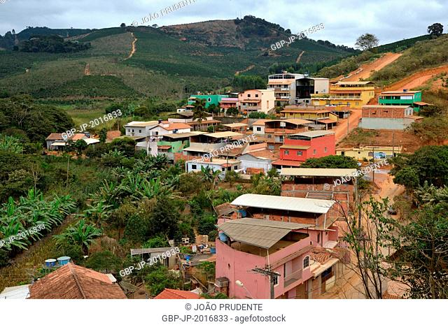 Top view of the city in the background highlight the coffee plantation - 07/2015