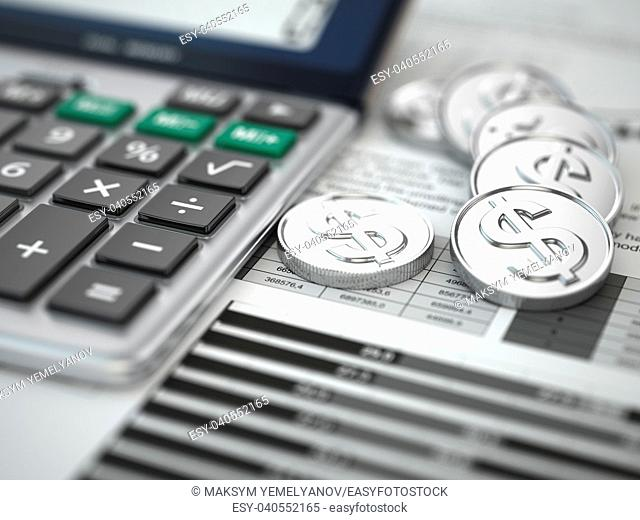 Financial concept. Calculator, coins and graph. 3d