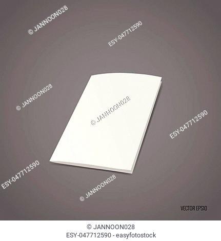 Bifold white template paper. Vector illustration