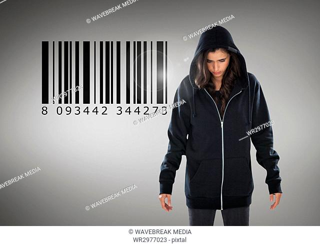 Woman hacker in front of grey background with bar code