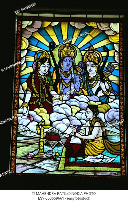Ram Laxman Sita on stained glass , Jaipur , Rajasthan , India
