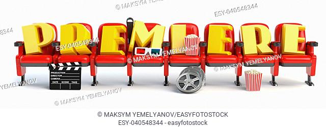 Premiere. Cinema, movie video concept. Row of seats with popcorm, glasses and clapper board isolated on white. 3d illustration