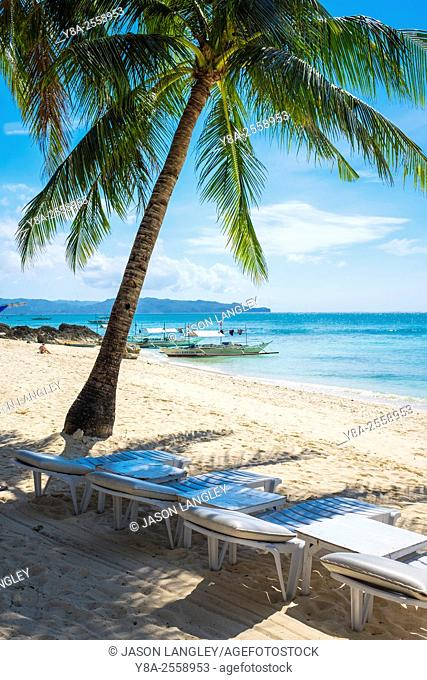 Beach lounge chairs and palm tree on Diniwid Beach, Boracay Island, Aklan Province, Western Visayas, Philippines