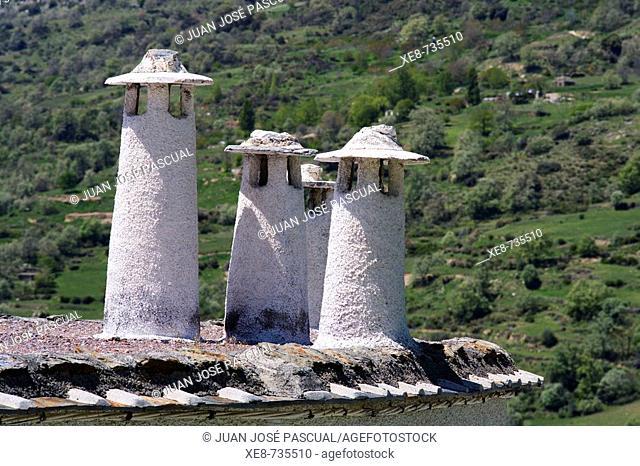 Chimneys, Capileira, Barranco del Poqueira, Alpujarras. Granada province, Andalucia, Spain