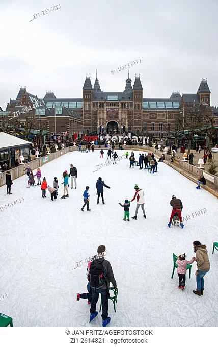 view at Rijksmuseum with skating rink at Amsterdam, holland