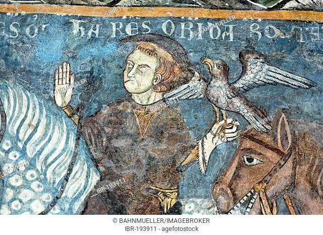 Abbey Abbazia di Vezzolano near Albugnano Province Asti Monferrato Piedmont Italy frescos in the cloister legend of the foundation Carl the Great with falconing
