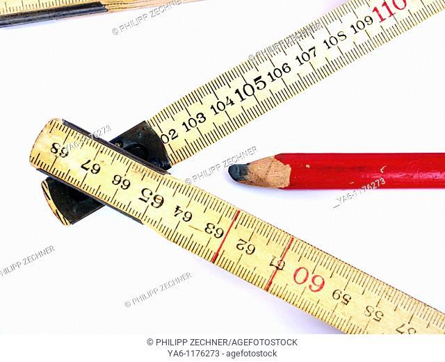 Tape measure and carpenter's pencil