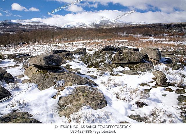 Overview of Sierra de Francia in winter, Biosphere Reserve of Sierra de Béjar and Francia, San Martín del Castañar, Salamanca province