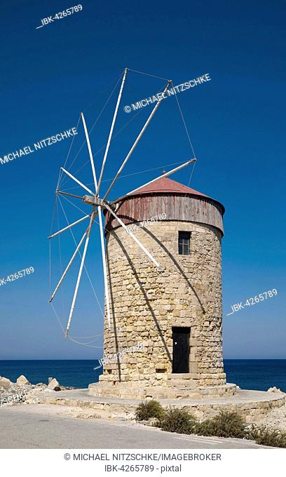Windmills at Mandraki Harbour, Rhodes Town, Rhodes, Dodecanese, Greece