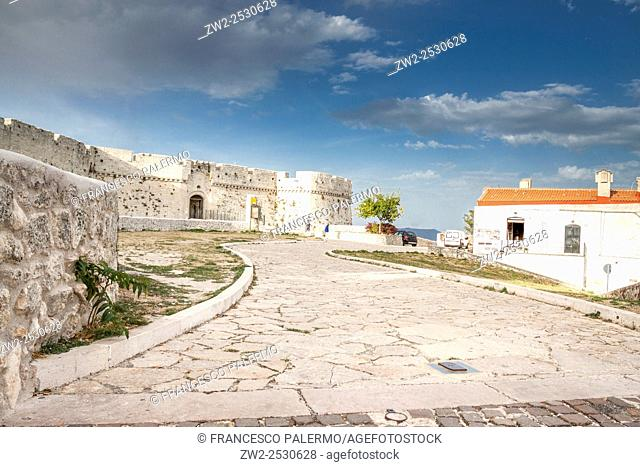Village and people with daily life. Monte Sant Angelo, Puglia. Italy