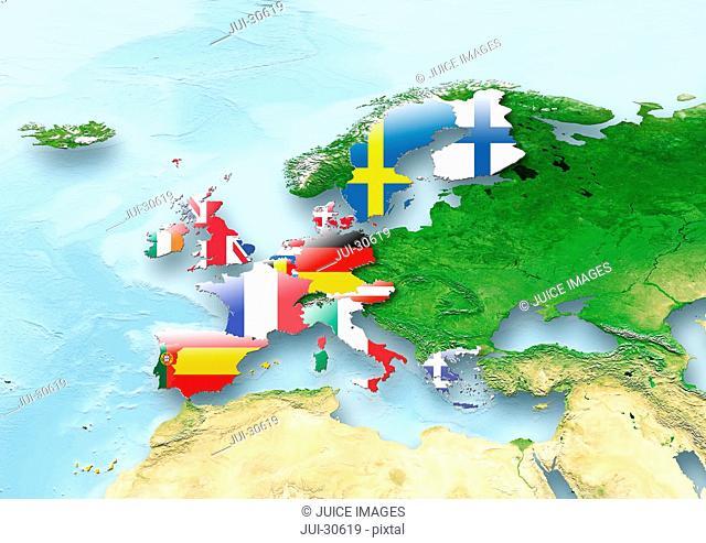 map, Western Europe, flag, flags, European Union, flag