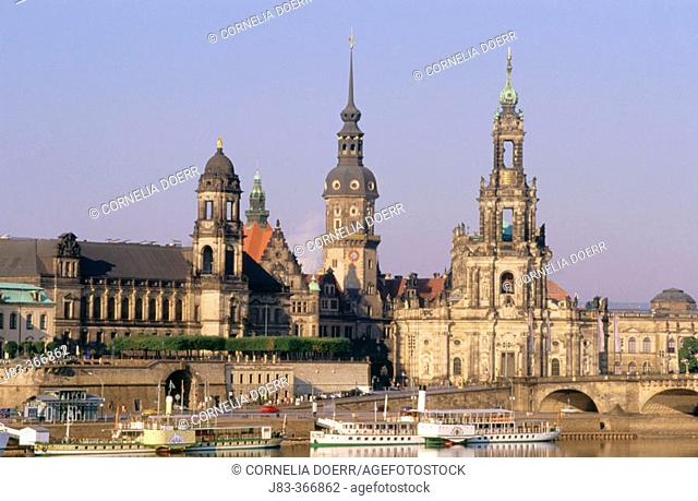 Dresden, Elbe river with Palace and Hofkirche. Dresden, Saxony. Germany