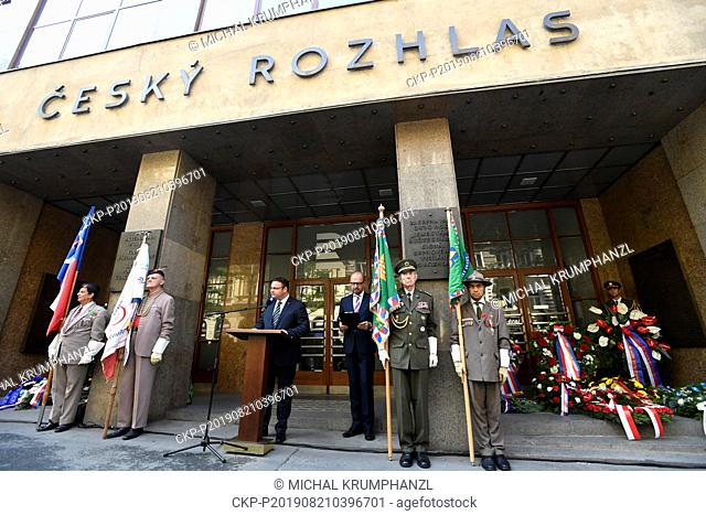 CRo CEO Rene Zavoral attends an act of reverence to honour the memory of people killed in August 1968 in defense of the Czech radio building