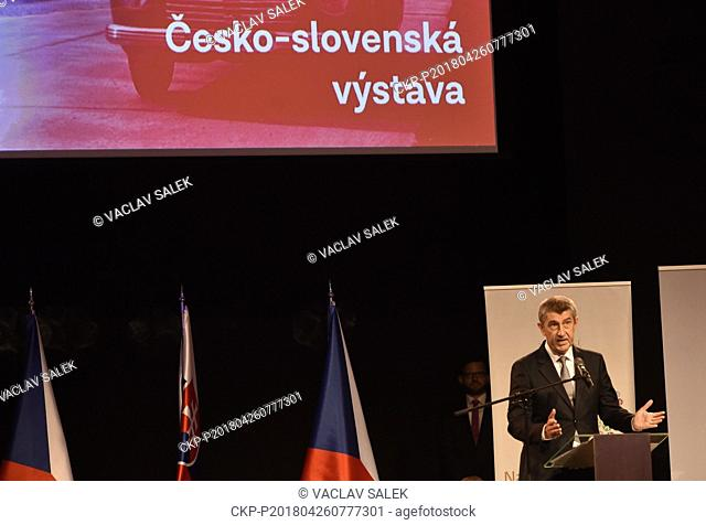 Czech Prime Minister in resignation Andrej Babis speaks during the opening of Czech-Slovak exhibition on the occasion of 100th anniversary of Czechoslovakia's...