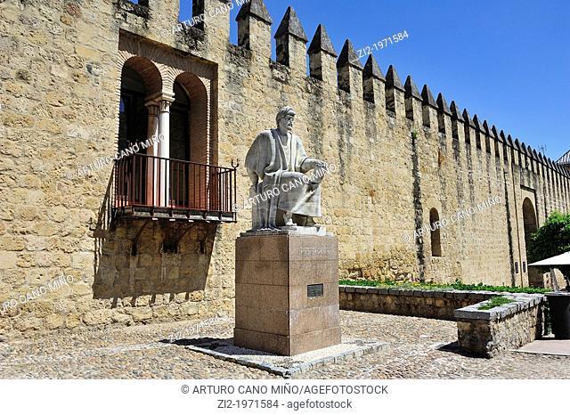 Wall and Averroes Memorial. Córdoba, Spain