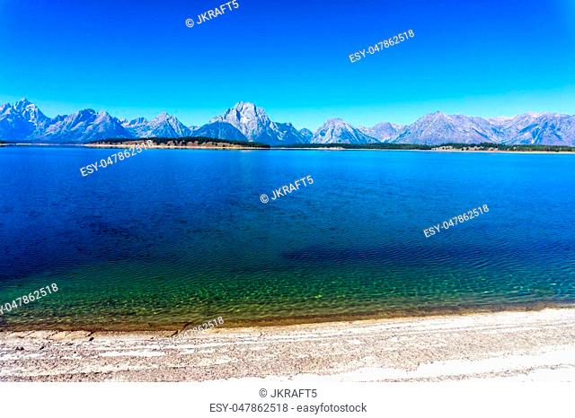 Lanscape of Jackson Lake with the Teton Mountain Range in Grant Teton National Park in Wyoming