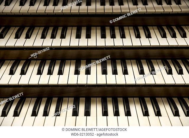 Keyboards on a church organ in Berlin, Germany