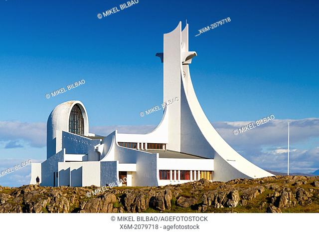 Stykkis-Holmur church. Snafellsnes peninsula. Iceland, Europe