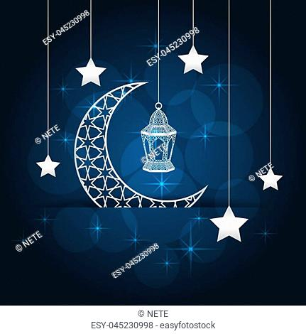 Ramadan greeting card on blue background. Vector illustration