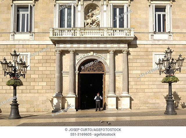 Facade of Palau de la Generalitat ,Barcelona, Spain