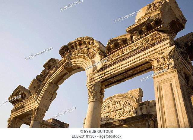 Ephesus. Detail of carved archway and supporting columns in antique city of Ephesus on the Aegean sea coast