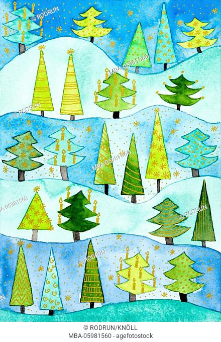 Watercolour of Heidrun Füssenhäuser, Christmas motif, Christmas in the fir forest