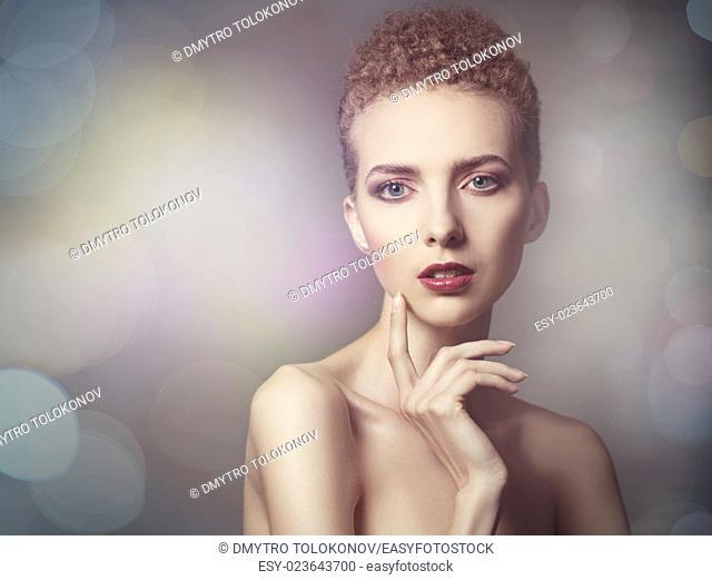 Vogue style female portrait with beauty bokeh