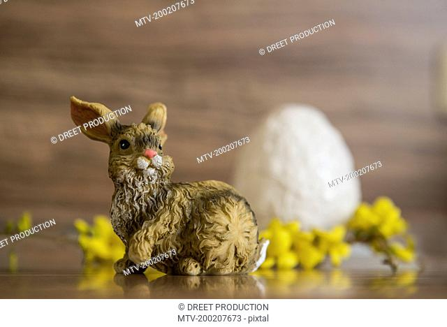 Close-up of an Easter egg with Easter bunny