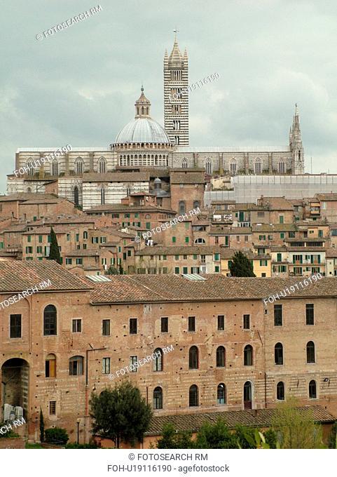 Tuscany, Italy, Siena, Toscana, Europe, Scenic view of the city of Siena