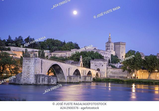 France, Provence region, Avignon city, the Popes Palace ,St. Benezet bridge, Rhone river at moonlight