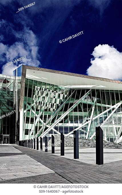 Ireland, Dublin, The Grand Canal Dock, main entrance of the Grand Canal Theatre