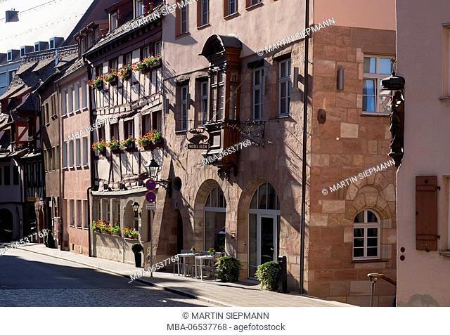 old craft houses, Irrerstrasse, Sebald old town, Nuremberg, Central Franconia, Franconia, Bavaria, Germany