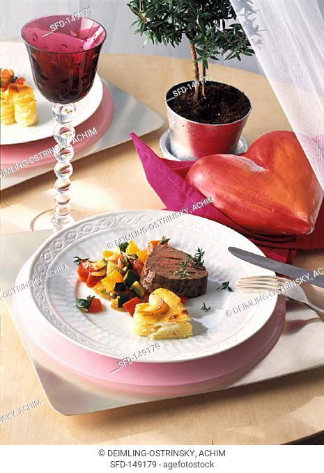 Fillet of Beef with Potatoes and Vegetables