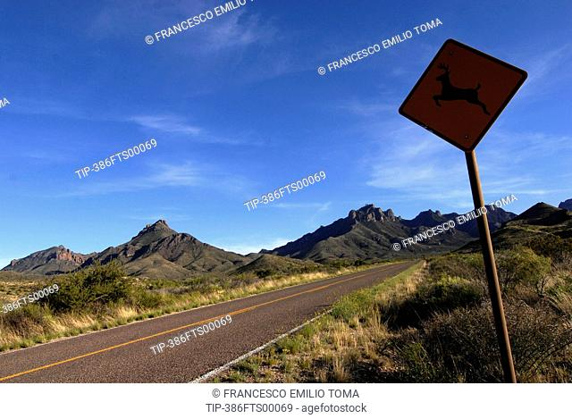 Usa, Texas, Big Bend National Park, Road Sign