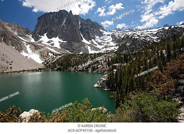 Temple Crag and Fifth Lake from the Big Pine Lakes Trail in the John Muir Wilderness, Sierra Mountain Range, California, USA