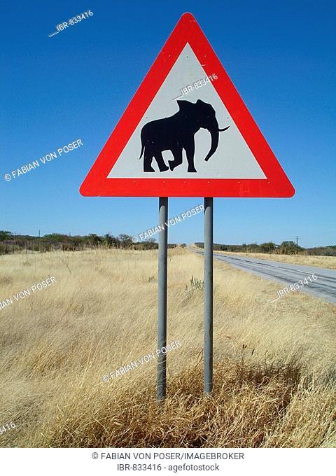 Road sign, beware of elephants, elephant crossing, near Khorixas, Namibia, Africa