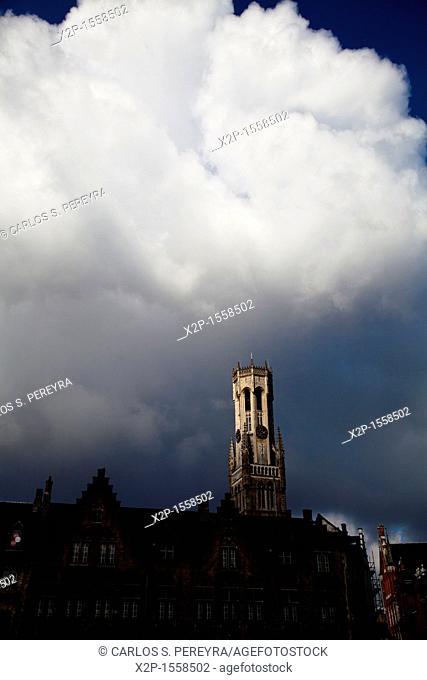 Belfort tower in Markt, Bruges, Flanders, Belgium