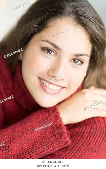 Close up of Brazilian teenager smiling
