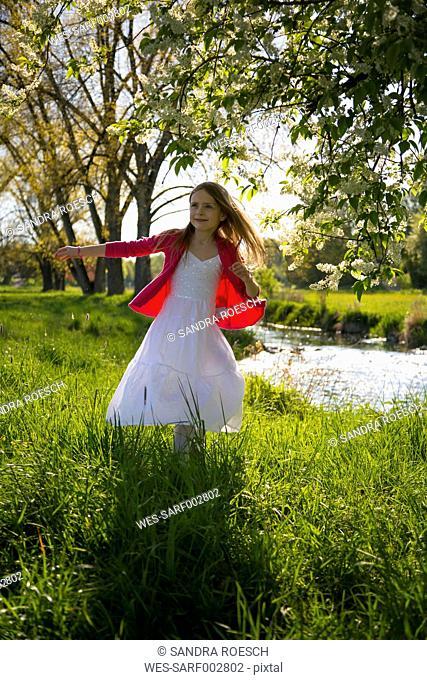 Girl dancing on a meadow