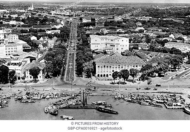 Vietnam: Aerial view of Saigon c.1954 - Looking north from the Saigon River along Duong Nguyen Hue