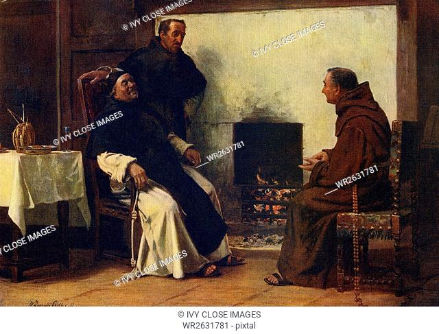 This painting, titled A Good Story, is by the English artist W. Dendy Sadler (1854-1923). The idea contained in this piece is a simple one