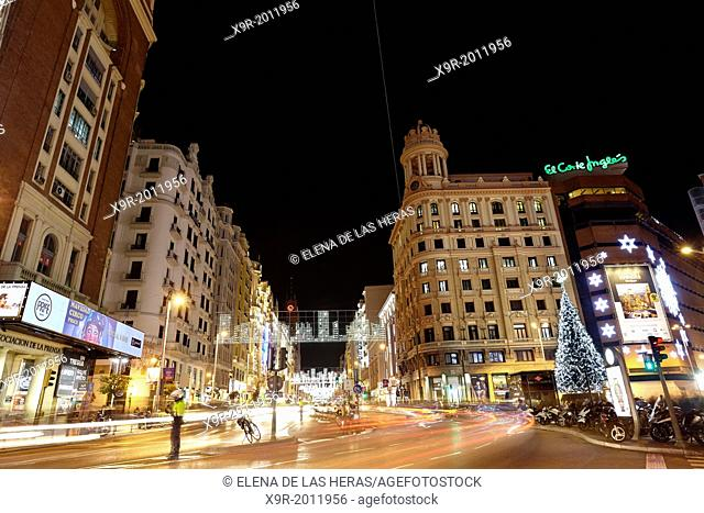 Traffic at Gran via street with lights trails effect at Christmas time. Madrid. Spain. Madrid. Spain